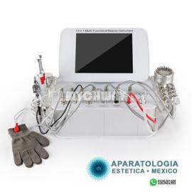 Radiofrecuencia + Microdermoabrasion + Ultrasonido + SkinScrubber + Galvanica + Martillo + Vacumm + Jet Oxigeno